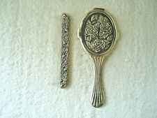"Vintage Heavy Made Pewter ? Floral Themed Comb & Mirror Set "" Beautiful Set """