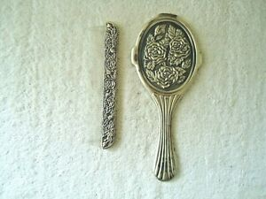"""Vintage Heavy Made Pewter ? Floral Themed Comb & Mirror Set """" BEAUTIFUL SET """""""