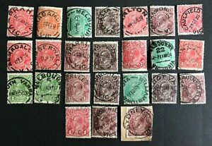 """Australia KGV head stamps - Selection of """"Socked on the Nose"""" town cancels"""