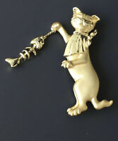 Adorable  vintage  signed AJC  Cat with dangle Fish Brooch in enamel on metal