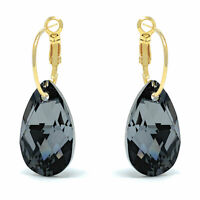 Drop Earrings with Black Grey Silver Night Pear Crystals from Swarovski Gold Pl