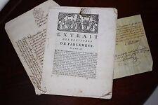 ✒ BORDEAUX extrait des registres du parlement 1785 dettes d'un notable