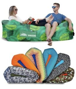 CHILLBO SHWAGGINS INFLATABLE COUCH - Green Leaf -HIKING - BEACH - FESTIVALS -NEW