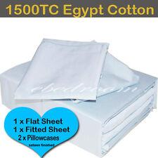 QB Bedlinen-Egypt Cotton Blue 1500TC Fitted Flat Pillowcases Sheet Set RRP $610