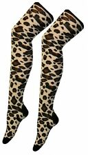 Ladies Over The Knee Leopard Print Socks Sox Fancy Dress Party Thigh High Animal