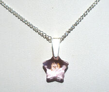 """'AAA' GRADE PINK CRYSTAL GLASS STAR PENDANT 18"""" SILVER PLATED CHAIN"""