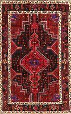 Tribal Black Geometric Hamadan Oriental Area Rug Hand-Knotted Nomad Carpet 5x7
