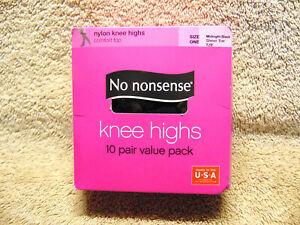 No Nonsense Women's 10-Pack Midnight Black Sheer Toe Knee Highs  NEW