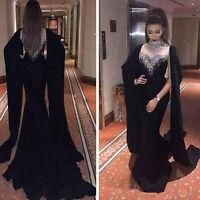 Dubai Arabic Long Beaded Crystal Black Evening Prom Formal Party Dress Ball Gown
