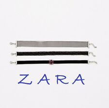 ZARA New with Tags 3 Choker Set Lobster Claw Clasp Crystal Flower New Hot GIFT