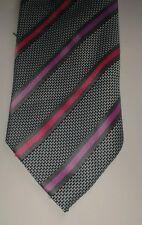Urban Spirit grey and pink striped polyester tie