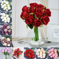 12 Heads Silk Rose Artificial Flowers Fake Bouquet Buch Wedding Home Party Decor