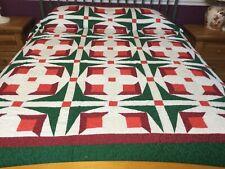 Over King size machine pieced Patchwork quilt / #J-64k