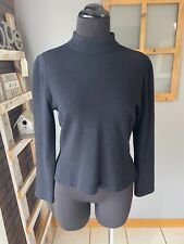 St. John Women's Black Mock Neck Back Zip Long Sleeve Santana Knit Sweater P Euc