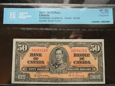 1937 BANK OF CANADA $ 50 FIFTY DOLLARS GORDON TOWERS BC-26b CERTIFIED CCCS VF-30