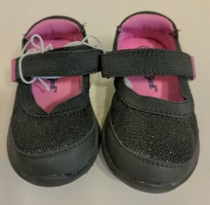 Cat & Jack Toddler Girls Eva Black Pink Sparkle Mary Jane Sneakers Shoes 5T NEW