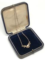 Gold Tone Crystal & Faux Pearl Sparkly VINTAGE Necklace Dainty Delicate Stylish