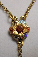 Signed Michal Negrin Y Necklace - Multi Rhinestone Flower on Chain w/ Beads