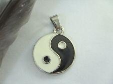 20 x 30 mm Yin Yang Ketten Anhänger emailliert Ying Yang mit Edelstahl Schlaufe