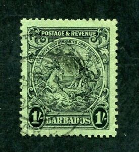 x134 - BARBADOS SG# 237a 1/- Used - Perf 13¼ x 12¼ - crease