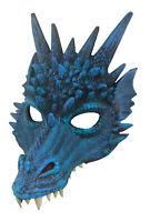 Unisex Blue Adult Soft Foam Dragon Mask Halloween Cosplay Costume Accessory