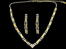 Golden diamante jewellery set necklace earrings bridal brides prom sparkly 102