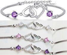 Sterling Silver Cubic Zirconia Amethyst Cross Heart Bracelet Chain Gift Box B8