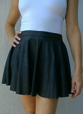T BY BETTINA LIANO BLACK PVC & PU CRUSHED-LOOK A-LINE SKIRT - SIZE 10
