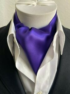 New Modern Day Silk Ascot Cravat Tie Royal Purple Extra Long