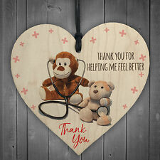 Thank You For Helping Me Feel Better Hanging Wooden Heart Doctors & Nurses Gift