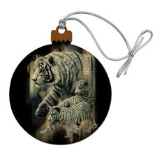 White Bengal Tigers Wood Christmas Tree Holiday Ornament