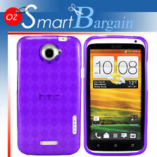 New PURPLE CHECK Soft Gel TPU Cover Case For HTC ONE X + Screen Protector