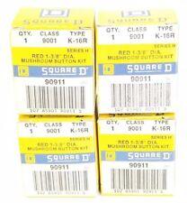 LOT OF 4 NIB SQUARE D 9001K16R RED 1-3/8 DIA. MUSHROOM BUTTON KITS 9001-K-16R