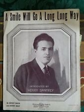 """Vintage 1923 """"A Smile Will Go A Long Long Way"""" Sheet Music"""