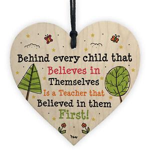 Gift For Teacher Wooden Heart Handmade Thank You Leaving School Nursery Gifts