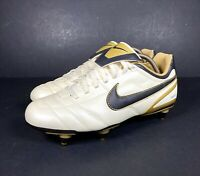 Nike Tiempo SG Football Boots Cream Gold Black Sports Active Size UK 7 UNUSED
