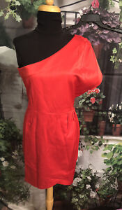 NWT Womens Newport News SIZE 12 Dress Stretch One Shoulder Red Party Career Knee
