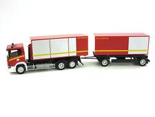 """HERPA 1:87/H0 LKW Scania CG 17 Abrollcontainer-Hängerzug """"Feuerwehr rot #310017"""