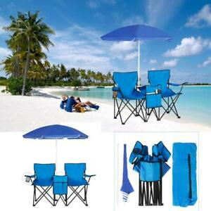 Double Folding Chair w/ Umbrella and Table Cooler Fold Up Beach Camping Chair