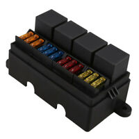 12 Way Blade Fuse Holder Box w/ Terminals 4 Pin 40A Relay for Car Truck Boat