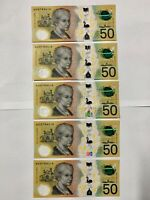 Australia 2018 $50 AA18 Prefix Spelling Error 5X Sequential S/N - UNC Condition