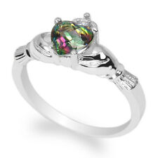 Ladies 14K White Gold 0.75ct Rainbow Topaz Solid Claddagh Ring Size 4-10