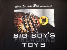 BLACK CAT FIREWORKS PROMO T-SHIRT /BLACK / LARGE /BIG BOY'S TOYS PRINT/NEW