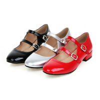 Women Mary Jane Shoes Patent Leather Double Buckle Ankle Strap Dress Ballet Flat
