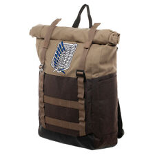 """Attack on Titan Scout Regiment Roll Top Backpack rolltop Bag 18"""" x 12"""""""