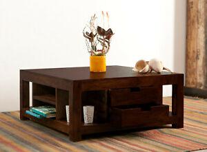 Couchtisch Wohnzimmertisch Tisch Massiv Holz 80x80cm 4 Schubladen KOLONIALBRAUN