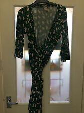 Diane Von Furstenberg Dvf vestido envolvente 'nuevo Julian' Verde Estampado De Leopardo Talla 12
