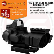 4X32 Prismatic rifle scope / Illuminated reticle scope with reflex red dot sight