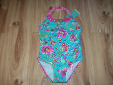 NEW GIRLS MONSOON SWIMSUIT AGE 12-13 YEARS, Aqua & Pink Floral swimming costume