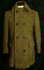 Rare Design Mens Vintage 1960's Harris Tweed Overcoat Pea Coat Size 40 Medium